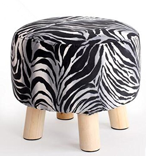Fashion Rund Hocker Massivholz Kleine Bench Tuch Sofa Hocker Creative Low Hocker kann gewaschen werden und gewaschen die Schuh Hocker Hocker zebra