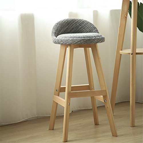 JIAO DE Barhocker Frühstück Home Holz Einfache Hohe Grau Baumwolle + Schwamm Kissen Ulme Holz Stand Front Desk Stuhl Arbeitszimmer Stuhl 360 ° Rotation (Color : Wood Color, Size : Height 73cm)
