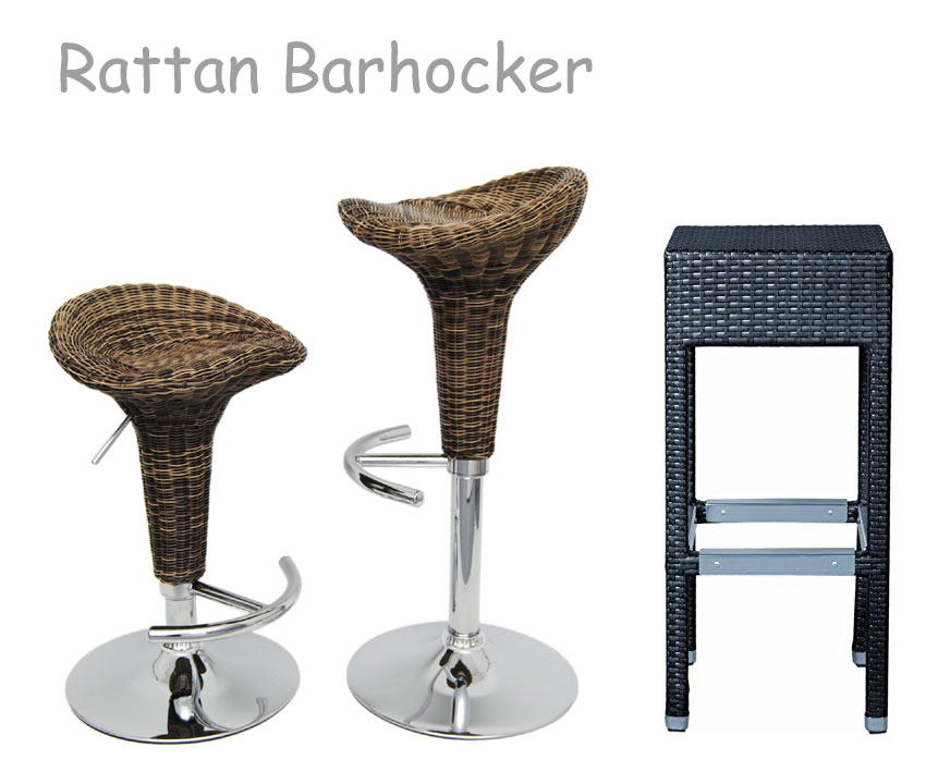 g nstig barhocker rattan h henverstellbar kaufen. Black Bedroom Furniture Sets. Home Design Ideas